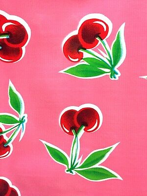 Oil Cloth Yardage TABLECLOTH Craft Fabric PINK CHERRIES Vintage Preppy