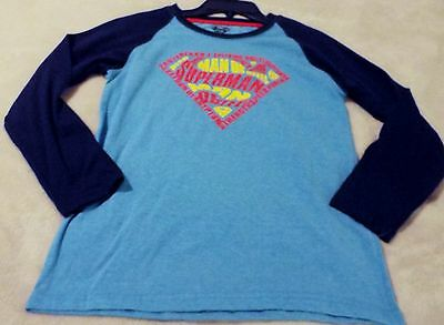 Superman Boy's Large(18) Long Sleeves Tee Blue With Navy Trim And Logo