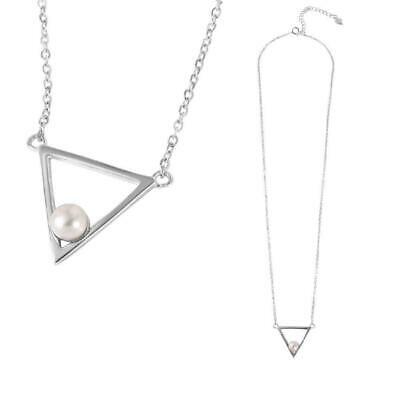 Sterling Silver Necklace 5mm Fresh Water Pearl on Open Triangle Pendant