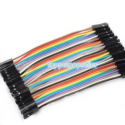 40PCS Dupont Wire Jumpercables 10cm 2.54MM Female to Female 1P-1P For Arduino