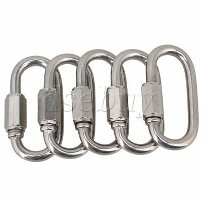 5pcs Multifunctional Stainless Steel Quick Oval Screwlock Link Lock Carabiner M5