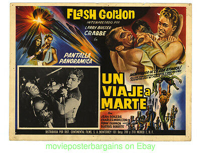 FLASH GORDON  TRIP TO MARS LOBBY CARD #1 Mexican  Re-release BUSTER CRABBE