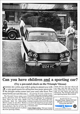 Triumph Vitesse Retro A3 Poster Print From 60's Advert