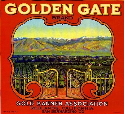 Redlands Golden Gate #1 Orange Citrus Fruit Crate Label Art Print