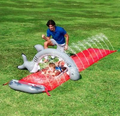 16ft Bestway Dash N Splash Shark Bite Garden Spray Water Slide Game Toy Pool Fun
