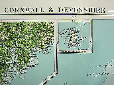 1919 Large Map ~ Cornwall & Devonshire Physical Land Heights Plymouth Torquay