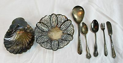 Lot of 2 Silver Plate Bowls & 5 Pieces Of Flatware International WM Rogers A1 +