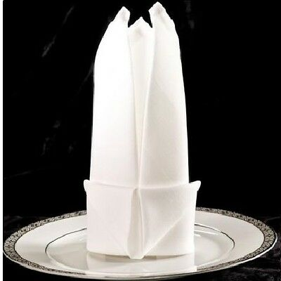 50  New White 100% Premium Cotton Dinner Napkins Wedding Supply Catering 20X20
