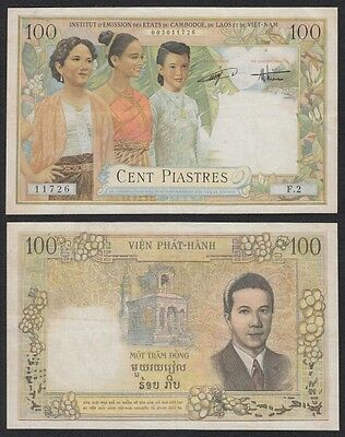 Indochina Fran. (Vietnam) - French Indochina 100 Piastres 1954 Pick 108 BC = F