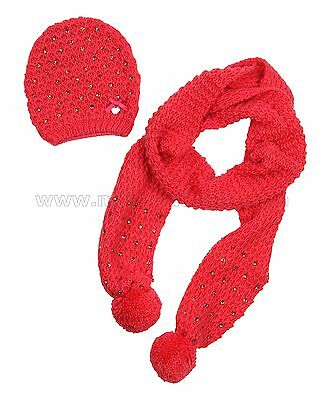 Le Chic Girl's Hat and Scarf Set Coral, Sizes 4-14