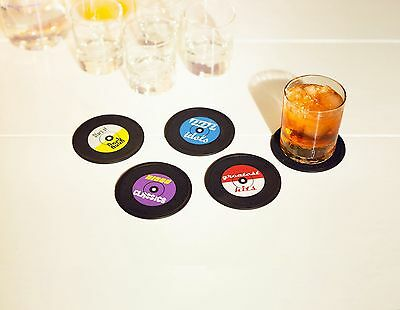 Rocket Long Drink Coaster Set 4 Sottobicchieri In Silicone A Forma Di Vinile