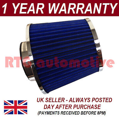 Blue & Chrome Universal Performance Cone Sports Upgrade Air Filter With Adaptors