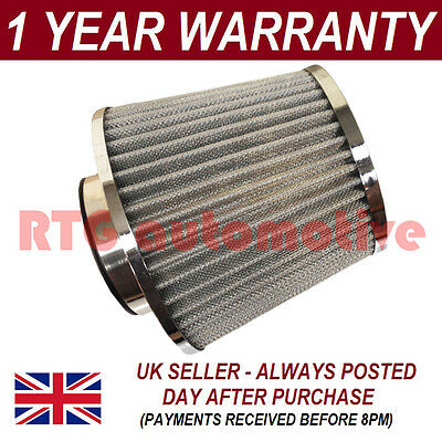 Silver Universal Performance Cone Sport Upgrade Air Filter With Adaptors