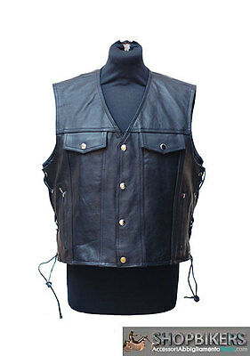 7XL Gilet Giacca Uomo in Pelle Biker Nero Chopper Patch
