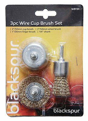 3 Pc SET WIRE ROTARY WHEEL CUP BRUSH BIT ABRASIVES BRASS COATED STEEL WB151