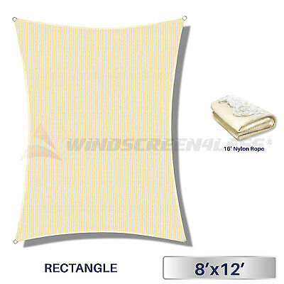 8' x 12' Rectangle Sun Shade Sail Fabric Outdoor Pool Canopy Patio Awning Cover