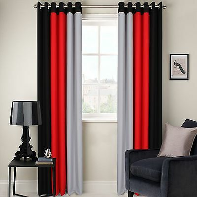 Ring Top Fully Lined 3 Tone 160Gsm Ready Made Pair Of Eyelet Curtains Free P&P!!