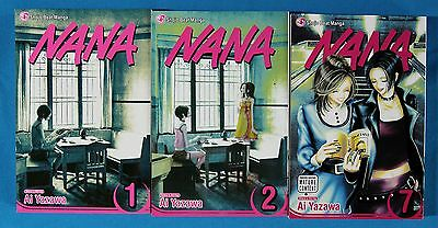 NANA MANGA BOOKS VOLUMES 1, 2 AND 7 - LOT OF 3