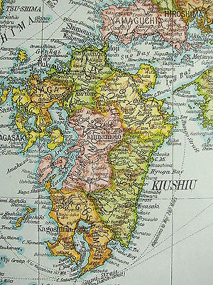 1919 Large Map ~ Japan ~ Honshiu Kiushiu Shikoku Yezo Population Density