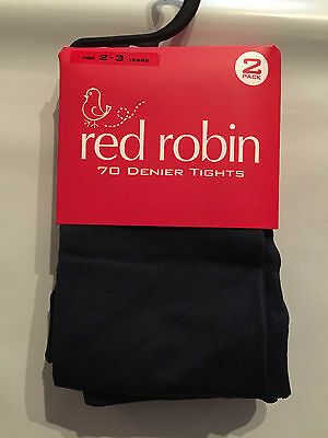 BNWT Red Robin Brand Girls Age 2-3 Years Navy Blue 70 Denier 2 Pack of Tights