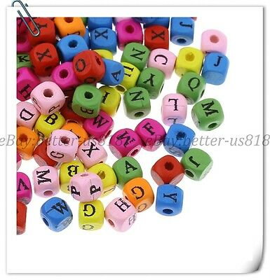 Wholesale 100Pcs Mixed Colours Wood Spacer Beads Alphabet A-Z 8MM 10MM B337