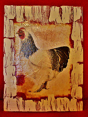 Vintage Look Rooster Rustic Cabin Country Farm Decorative Sign 3