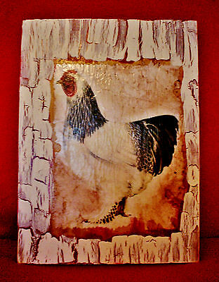 Vintage Look Rooster Rustic Cabin Country Farm Decorative Sign 8