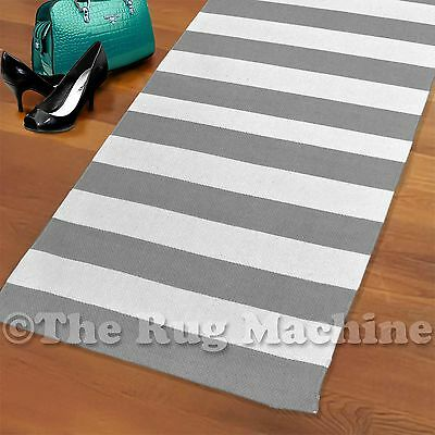 JUBILEE STRIPES GREY WHITE THIN COTTON FLOOR RUG RUNNER 70x280cm **NEW**