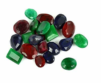 100-225 CT. Ebay Natural Mixed Shape Blue Sapphire Ruby & Emerald Gemstone Lot