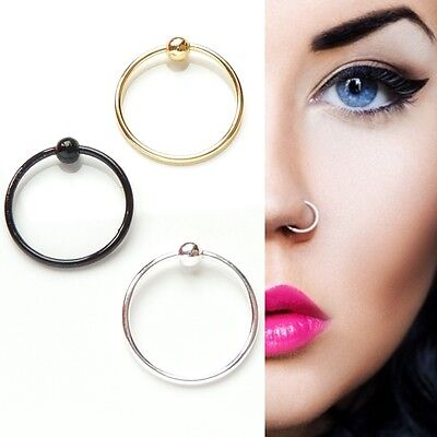 2pcs Sterling Silver Gold Black Plain Ball Nose Cartilage Tragus Ring Hoop Body