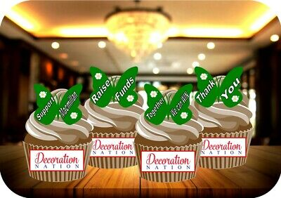 NOVELTY Macmillan Green Butterfly Messages Mix STANDUP Icing Edible Cake Toppers