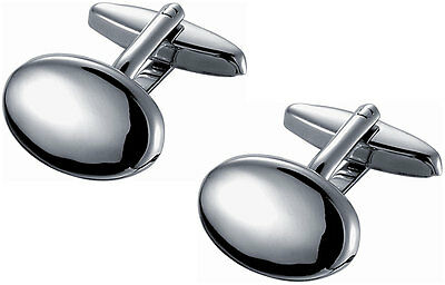 Classic Polished Finished Oval Stainless Steel Cufflinks, SC-097, New