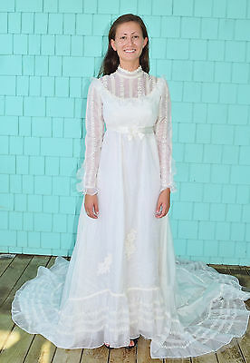 Vintage 60's White Embroidered Chiffon Wedding Dress Gown Chapel Length Size XS