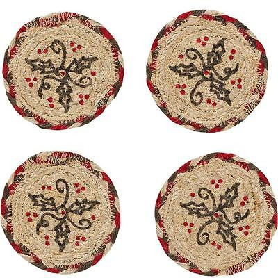 Set of 4 Rustic Christmas HOLLY BERRY Braided Jute Coasters