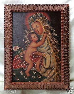 """Peru Cuzco Painting """"Mother & Child"""" w. Rare Wooden Carved Vintage Frame 18x23"""""""