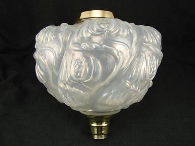 Victorian Moulded Wrythen Opalescent Glass Oil Lamp Font Art Nouveau Decoration