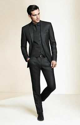 2017 Black Groom Tuxedos Business Best Man Slim Suit Fit Formal Wedding Suits
