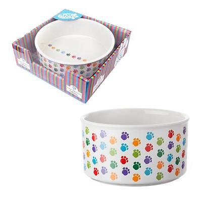 Pet Brands Ceramic Food Water Paw Print White Pet Dog Puppy Feeding Dish Bowl