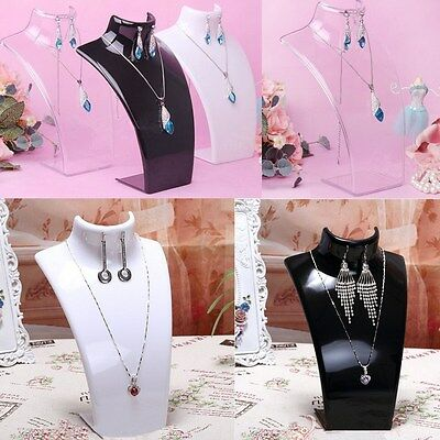 21cm Plastic Bust Jewelry Holder Necklace Earring Rack Stand Chain Display