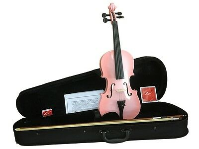 Zest Student Violin's Metallic Pink & Gloss Blue burst in 4 sizes 4/4 to 1/4