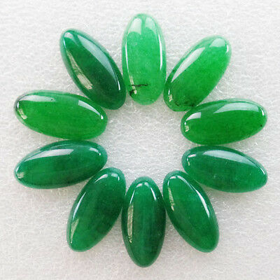 10 Pcs 30x15mm Incomparable Green Jade Oval CAB CABOCHON W7671