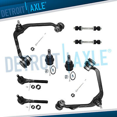 97-04 F150 8pc Front Upper Control Arms Sway Bar Tie Rod Lower Ball Joints 2WD