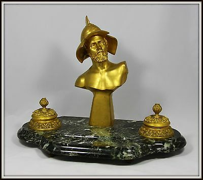 "Exquisite ""19th Century French Dore Bronze & Marble Inkwell"""