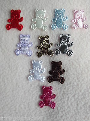 15 x SMALL SEW-ON TEDDY BEAR MOTIFS ~ PINK ~ WHITE ~ GOLD ~ BLUE ~ LILAC ~ RED +