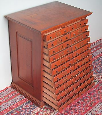 24 Drawer Antique Victorian Solid Tiger Oak Hardware Cabinet / Filing Cabinet