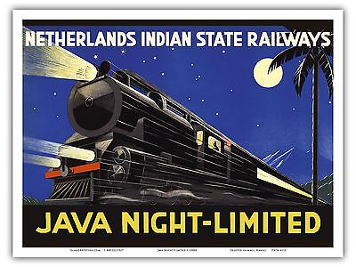 Java Dutch East Indies Vintage Railway Travel Art Poster Print