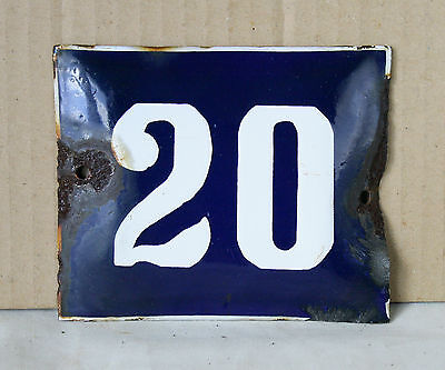 VINTAGE 60`s COBALT BLUE PORCELAIN ENAMEL SIGN PLATE STREET HOME DOOR NUMBER 20