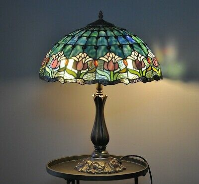 """""""PURPLE TULIPS"""" LEADLIGHT """"antique""""-LARGE TABLE LAMP-DECO-tiffany stained glass"""