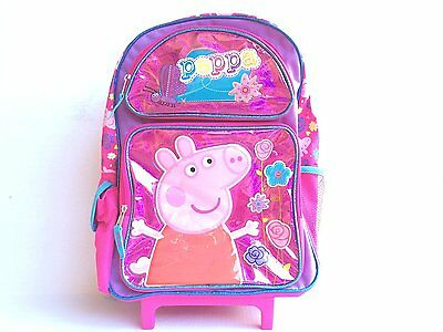 """Peppa Pig Large 16"""" inches Rolling Backpack NEW for Girls Licensed - Flower"""