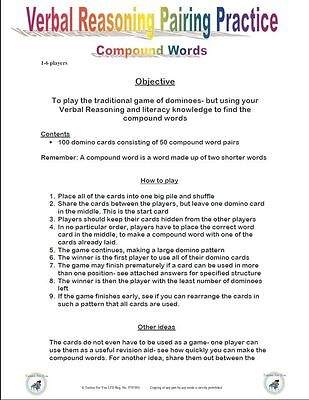 11+Plus Verbal Reasoning Compound Domino Game-Nfer/Bond/Cem
